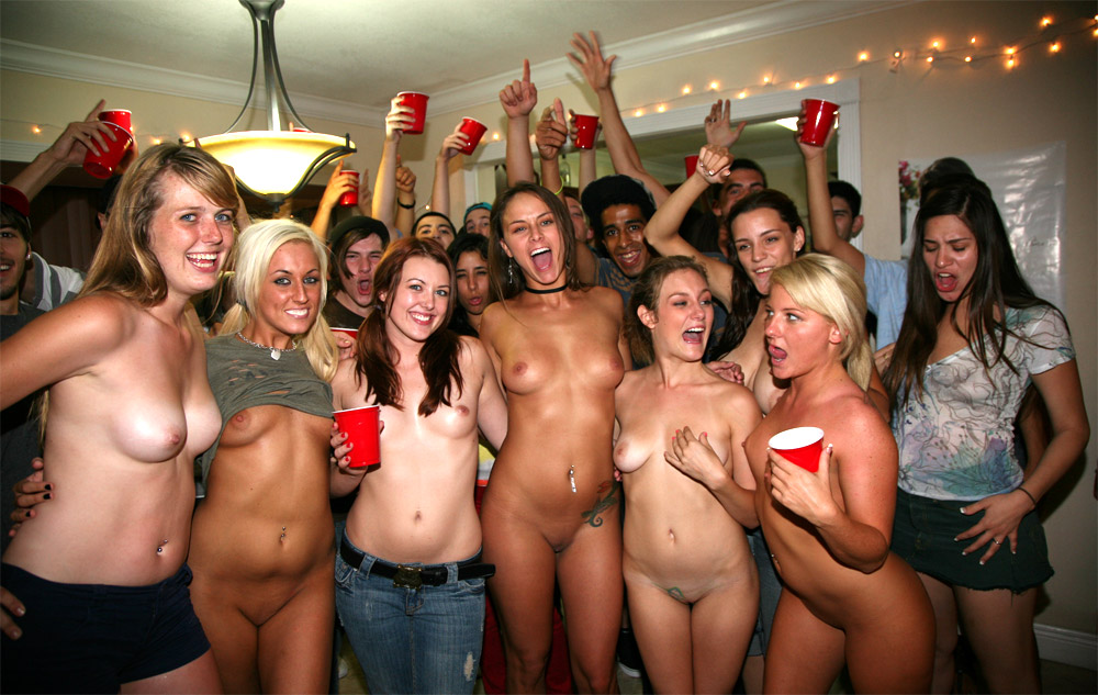 College coed nude party girls